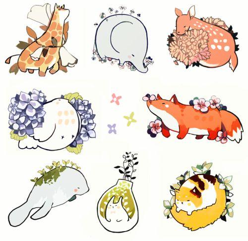 tofuvi:  mochi animals and foliage.