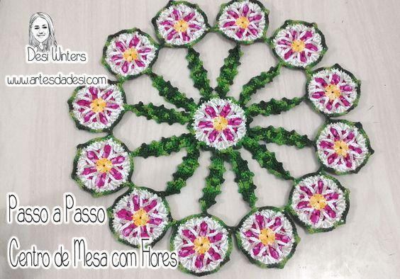 Passo a Passo - Centro de Mesa com Flores de crochê