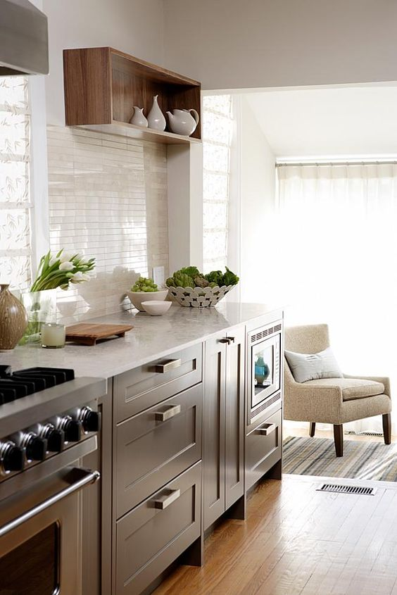 Love the open shelf/box, white backsplash tile, drawers, light and open, below counter microwave - Sarah Richardson Design inc 3 Didem's Kitchen