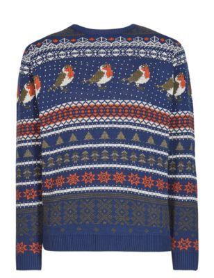 Marks&Spencer - Pull à motif jacquard et rouge-gorge de Noël