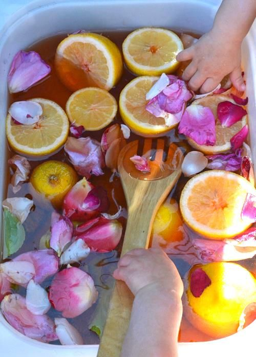 sensory tubs with citrus fruit, rose petals and coloured water