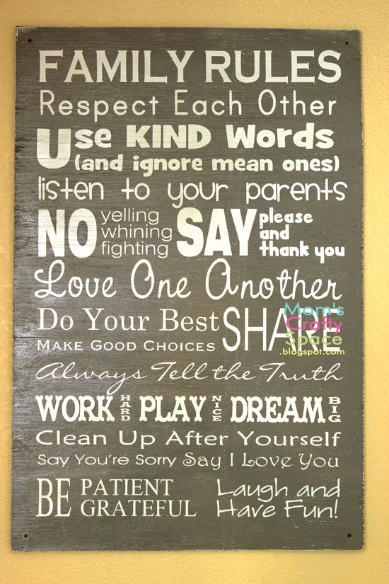 Mom's Crafty Space: Easy DIY Family Rules Artwork
