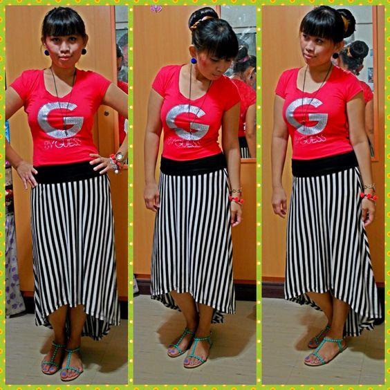 Top-guess,skirt-forever 21,sandal-vincci,accessories-h&m