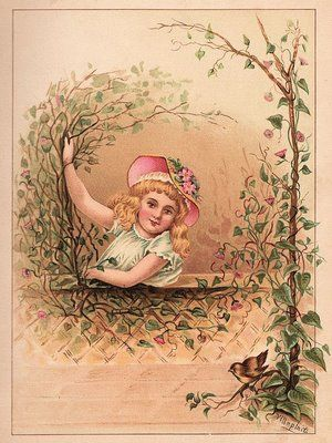 Victorian Graphic - Girl with Bird