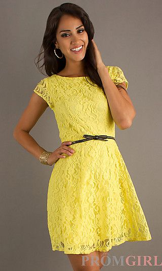 Short Yellow Lace Semi Formal Dress at PromGirl.com  Sarah&39s Big ...