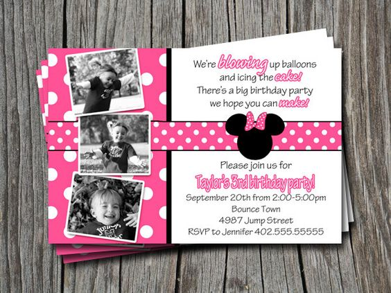 Foto personalizada Rosa lunares Mickey & por ATimeAndPlaceDesign