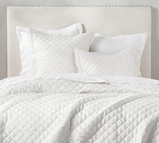 Belgian Flax Linen Diamond Quilt Sham White Pottery Barn Bedding Quilted Sham Linen Duvet Covers