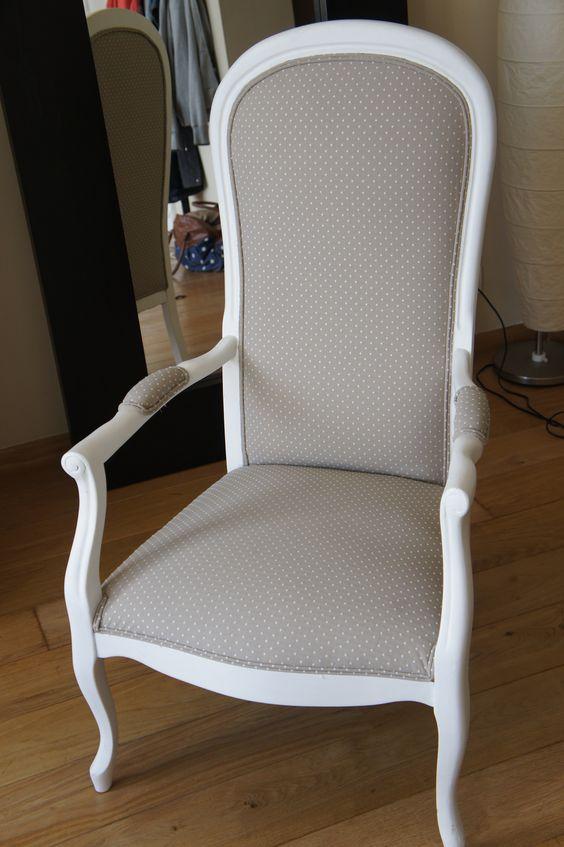 fauteuil voltaire gris pois blancs fauteuil voltaire pinterest. Black Bedroom Furniture Sets. Home Design Ideas