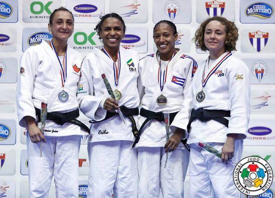Erika Miranda (BRA), Ecaterina Guica (CAN), Angelica Delgado (USA), Gretel Romero (CUB) - Pan American Championships Havana (2016, CUB) - © Gabriela Sabau, IJF