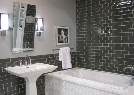 Subway Tile Dark Tile in Bathroom White Sink and Bathtub Modern Design Wall Art