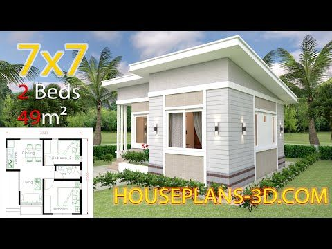 Small House Design Plans 7x7 With 2 Bedrooms House Plans 3d Small House Design Plans House Plans House Roof