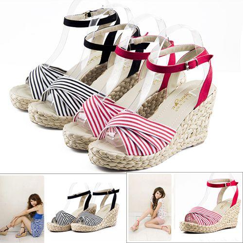 Estilo Bohemian cunhas plataforma de Verão das mulheres sapatas da senhora de ultra sandálias de salto alto cinta botão cinto de trança de palha sapatos abertos toe US $25.99