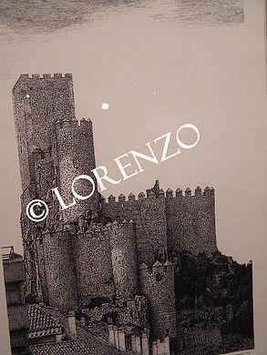 Almansa, Castillo fachada sur. Dibujo a plumilla sobre papel