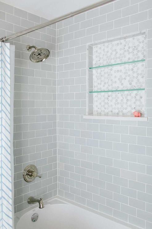 Shower With Gray Subway Tiles Transitional Bathroom Bathrooms Remodel Bathroom Tub Grey Subway Tiles