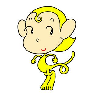 Monkey cartoon character - Little yellow monkey