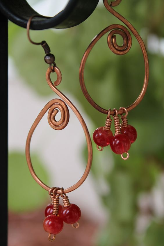 Copper earrings red earrings by shahrinalam on Etsy, $8.00