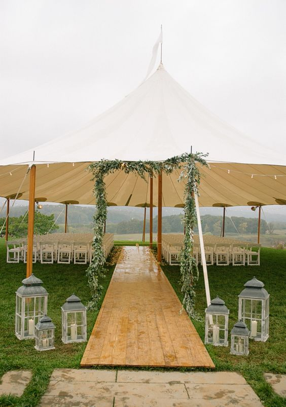 Worried about rain on your wedding day, tenting your ceremony site is a wise idea in the South! http://southernweddings.com/2016/06/03/7-ideas-for-a-tent-at-your-wedding-besides-your-reception/