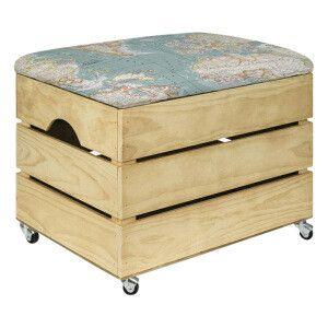 Caisse de rangement Worldmap en bois avec assise rembourrée, marron   50 x 35 x…