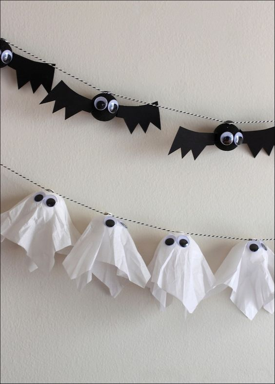 Add some festive decor to your Halloween party with DIY bat and ghost garlands!  Only 3 easy steps.