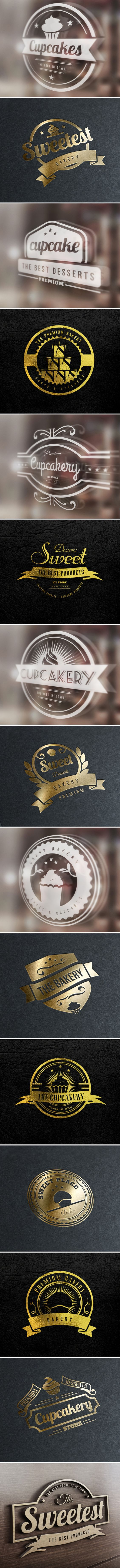 15 Bakery Cupcakes and Cakes Labels Badges Logos by Design District, via Behance