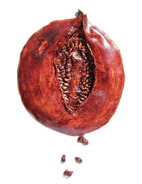 """Perse Phones Descent"" Menstrual Blood Art by Wendy Bennett"