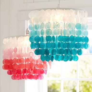 girl's bedroom lighting - ombre capiz chandelier | lighting