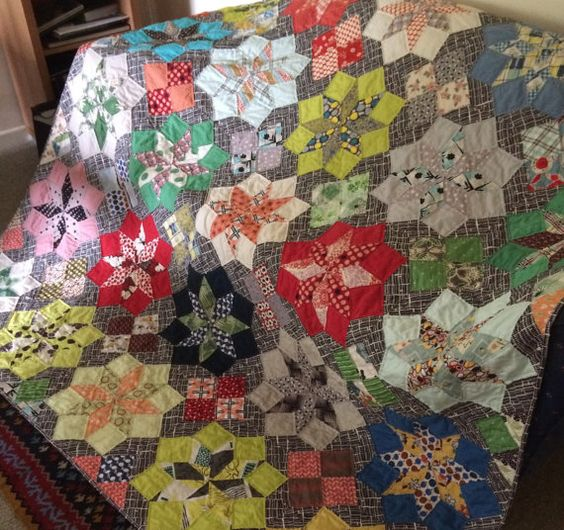 Marrakesh is a larger quilt measuring 85 x 85 inches square (216 x216 cms ). Made by Christine Vlasic, it is a wonderful mix of cotton fabrics of