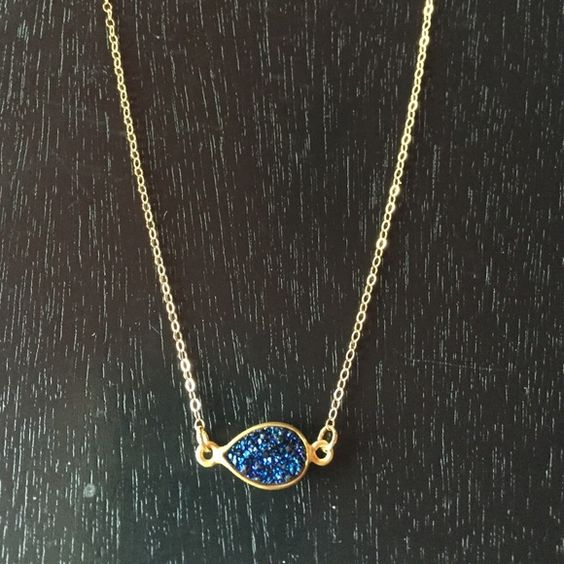 """Sapphire Druzy Necklace Sapphire Druzy Necklace Similar to Kendra Scott Elisa style necklace featuring real stones and 14K played gold chain. 16"""" length. This is a handmade item so processing time is 1-2 days prior to shipping. This is not an actual Kendra Scott piece, just a similar style. Lilacs and Spring Jewelry Necklaces"""