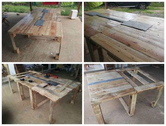 Repurposed pallet table pallet ideas palettes tables en palettes de bois - Fabrication d une table ...