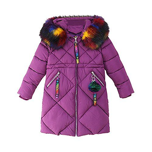 OCHENTA Girls Puffer Down Coat Winter Jacket with Faux Fur Trim Hood