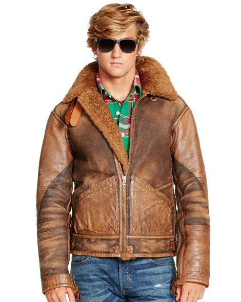 Shearling Bomber Jacket - Polo Ralph Lauren Leather &amp Suede