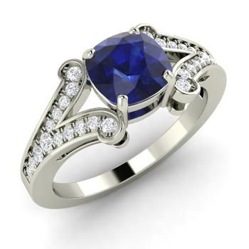 Cushion-Cut Sapphire Ring in 14k White Gold with SI Diamond