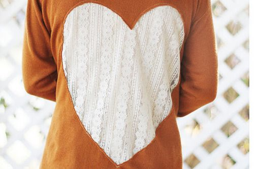DIY back heart & lace cut out. Gives new life to an old sweater