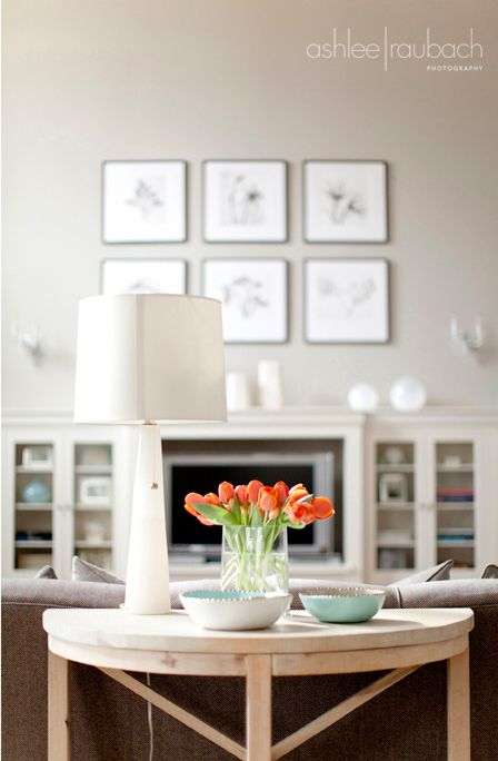 Greige Wall With Orange And Turquoise Accents Brown