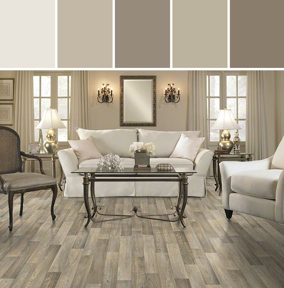 Mushroomy Neutrals Resilient Carriage House Flooring Living Room Designed By Shaw Floors Via