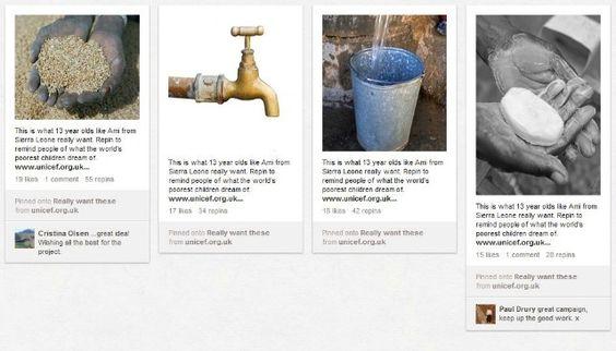 Unicef creates alias Pinterest of Ami Musa. Mashable shows us 10 Non-profits using Pinterest to Better the World