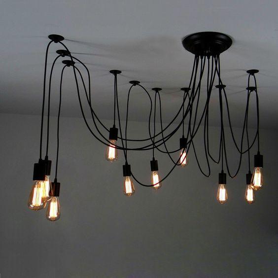 10 Arms Industrial Ceiling Spider Lamp,Retro E27 Edison Bulb Hanging Chandelier Lights, DIY Adjustable Modern Chic Pendant Lighting(light bulb is not