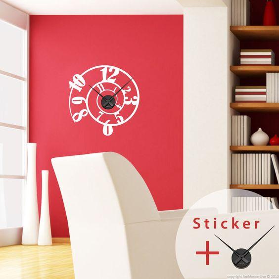 sticker horloge spiral de chiffres sticker stickers originaux stickers horloges ambiance. Black Bedroom Furniture Sets. Home Design Ideas