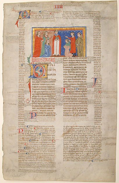 Manuscript Leaf with Marriage Scene, from Decretals of Gregory IX | Italian | The Metropolitan Museum of Art