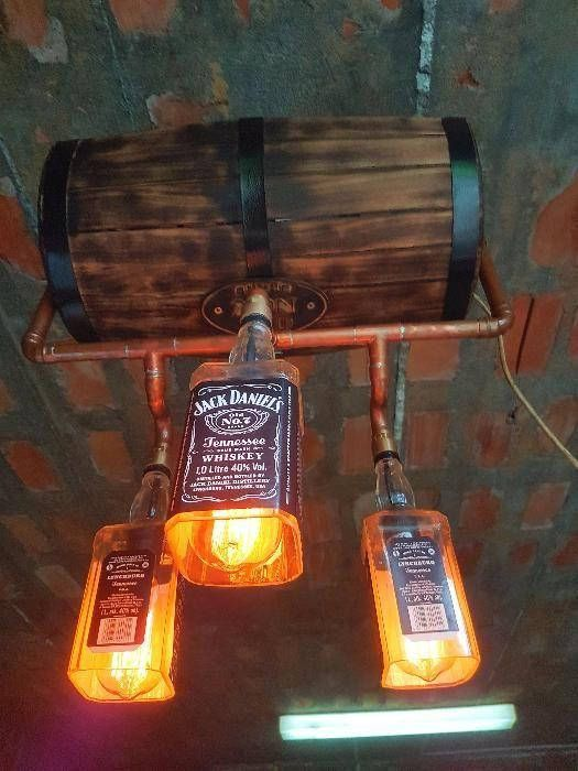 Beautiful Chandelier Jack Daniels Made With Burned Wood Cooper Pipes And Three Jack Daniels Boot Bottle Lights Industrial Style Lamps Dining Chandelier Rustic