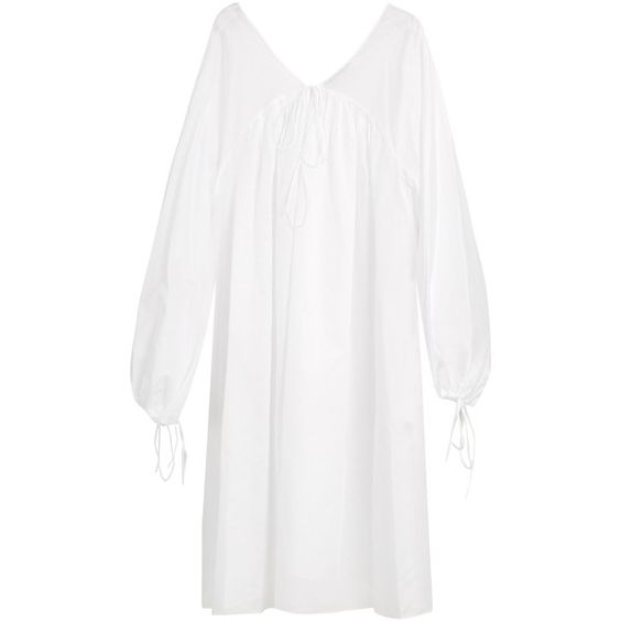 Three Graces London Isadora cotton nightdress (1.435 RON) ❤ liked on Polyvore featuring intimates, sleepwear, nightgowns, white cotton nightgown, cotton nightdress, white cotton sleepwear, white nightie and cotton nightie