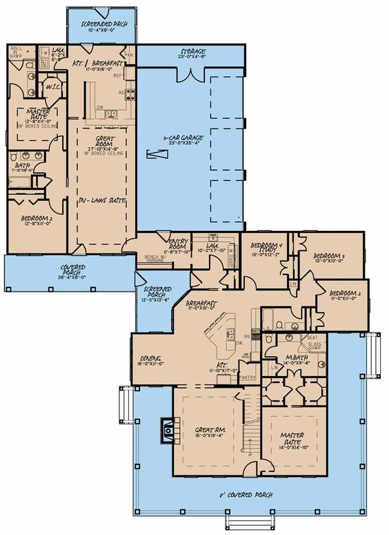 Favorite perfect one story and 2 br in law suite 5020 for One story house plans with connecting in law suite