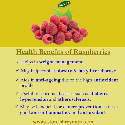 #Raspberries are a very good source of #vitamin C, K & E, #biotin, manganese, potassium and folate. This #fruit is high in #antioxidants and confers many #health benefits. For more on great health, visit estore.shreynutra.com