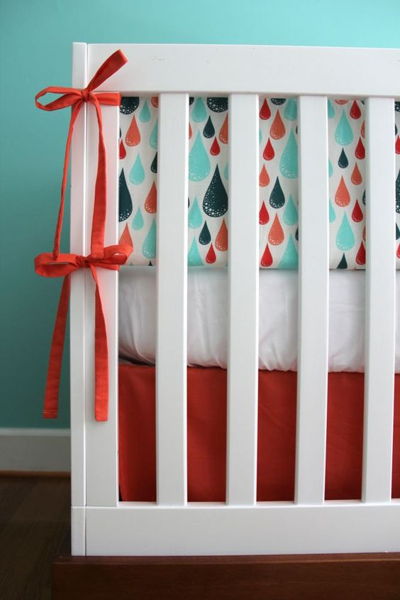 coral and aqua raindrop 5piece nursery by iviebaby on Etsy