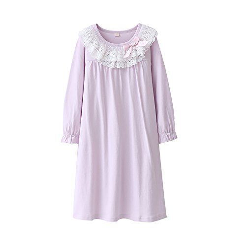 Zegoo Girls Short Sleeve Crew Neck Pink White Sleep Dress Nightgown