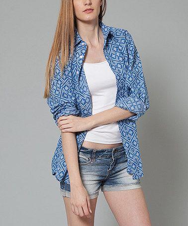 Look what I found on #zulily! Blue Geo-Diamond Button-Up Top - Women #zulilyfinds