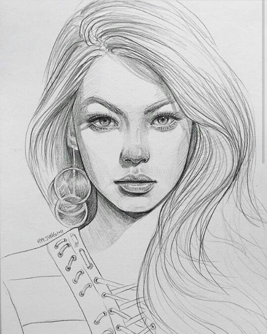 How To Draw A Girls Face Drawing Hair Face Eye Portrait Drawing Face Drawing Sketches
