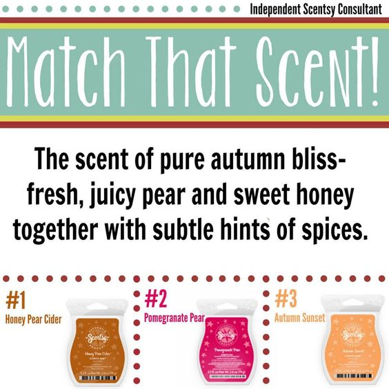Can you #MatchThatScent ;) For a clue visit www.justawickaway.com #JustAWickAway #Scentsy #Fragrance #HoneyPearCider #PomegranatePear #AutumnSunset