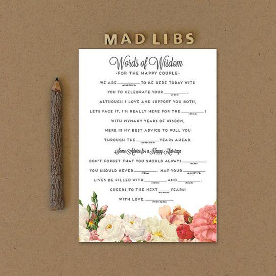 Mad Libs Printable Wedding Mad Libs Printable by lovevsdesign