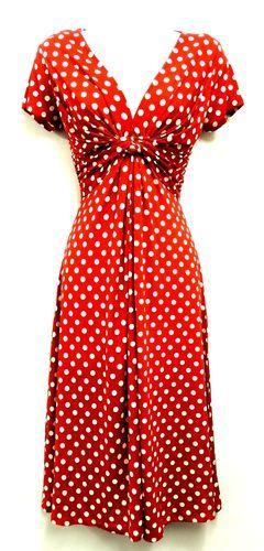 New Slinky Ladies Vtg WW2 Land girl 1940s/50s Polka Dot Pin-up Swing Tea Dress | eBay
